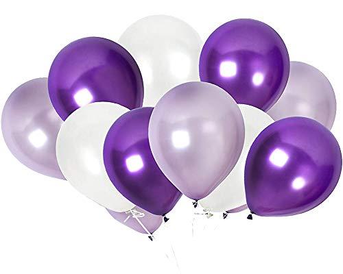 TOSOAR 100 Ballon 30cm Partyballon Farbige Ballons Bunte Ballons für Geburtstagsfeiern Party Hochzeitsfeiern (Pflaume Lavendel und Flieder lila und Perlweiß)