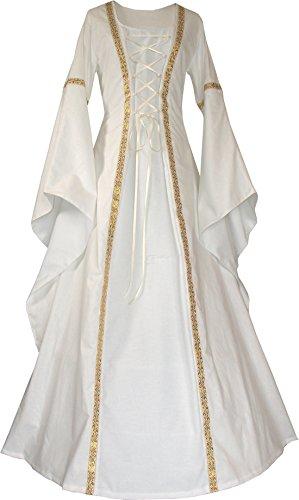 Dornbluth Damen Mittelalter Kleid Anna hell (48/50, Ecru-Ecru)