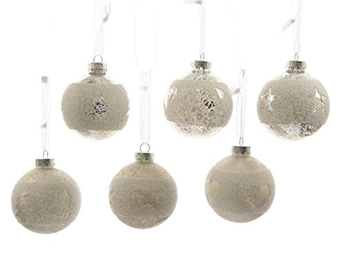 Kugeln Glas weiß silber antik Glaskugeln Weihnachtskugeln Christbaumkugeln Baumschmuck 3er Set 2 Ausführungen