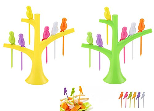 Slings Plastic Fruit Fork Set, 12-Pieces with 2 stand, Multicolour  available at amazon for Rs.95
