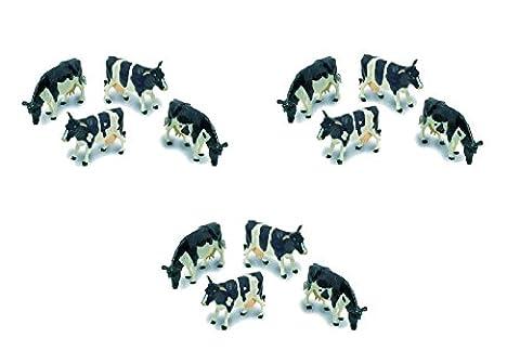 Britains - Bri42986 - Véhicule Miniature - Modèle À L'échelle - Assortiment De 12 Vaches/Taureaux - Noir/Blanc - Echelle 1/32