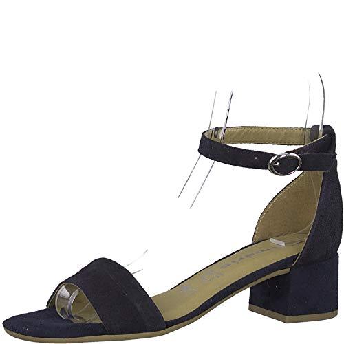Tamaris 1-1-28240-22 Damen Sandaletten,Sommerschuh,Riemen,elegant,feminin,Leichter Absatz,Touch-IT,Navy,39 EU
