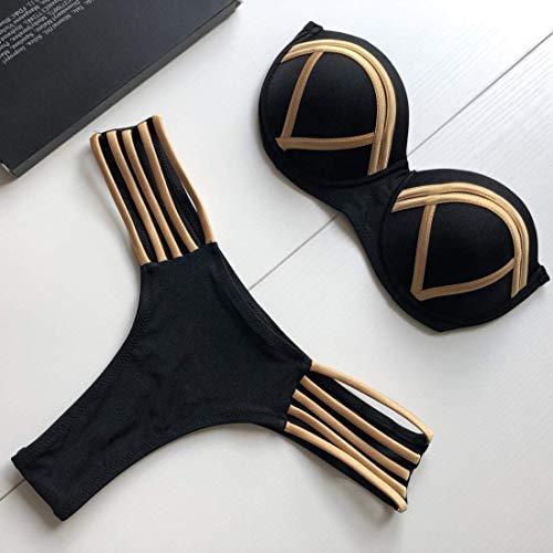 LZY Frauen Casual Bikini Set Frauen High Rise Ausschnitt Unten V-Ausschnitt Oben Halter 2 Stück Badeanzüge Geeignet für Seaside Beach Vacation,S03,Klein -
