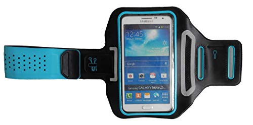 Pulsera Deportiva Fitness Cover para Huawei Y6 II Compact, Brazo del teléfono móvil Funda Ligera, Manga Plana Jogging Unisex, Dealbude24 Trendy L Azul