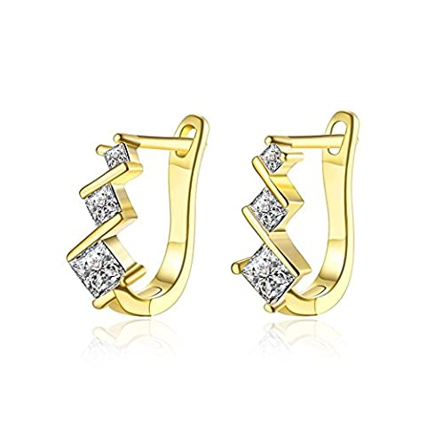 Ceswx 18K Gold Plated Huggies and Clip On Pave Hoop Earring Top 21 Best Selling Styles Triple