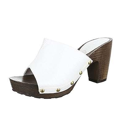 Schuhtraum Damen Sandalen Pantoletten Clogs Plateau High Heels Sandaletten ST621 (36, Weiß)