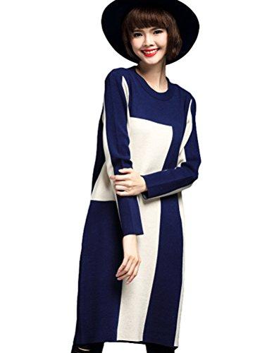 MatchLife Femme Pull-over Jumper Chandail Pull Robe Style11-Bleu marine