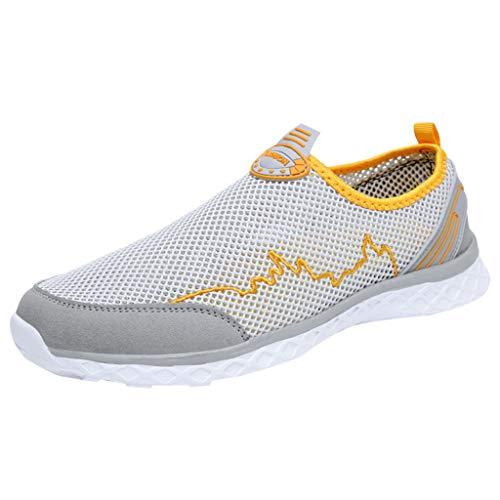 Xmiral Mesh Sneakers Herren Atmungsaktiv Rutschfest Badesandale Bootsschuhe Gummisohle Sportschuhe Laufschuhe Barfuß Wasserschuhe(Gelb,43 EU)