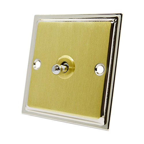 Slimline Duo Satin Messing poliert chrom 1-Gang Toggle Switch – 10 Amp Single 1 Gang 2 Way Dolly Lichtschalter