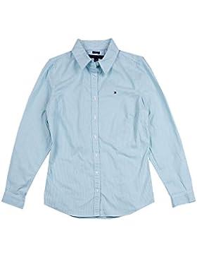 Tommy Hilfiger Damen Bluse Business Hemd Damenbluse weiß/türkis gestreift Größe L