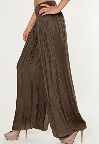 CASPAR KHS010 Damen elegante lange Seiden Chiffon Marlene Hose / Hosenrock mit hohem Stretch Bund, Farbe:dunkelbraun - 4