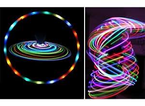 Poly PRO LED Hula Hoop (EUPHORIA-20xLed, batterie incluse) Multi-programme Fitness Adulte Voyage Pliable Hula Hoop Pondéré, Pour Aerobic et Hoop Danse (Diam:100cm, Lesté:500g)