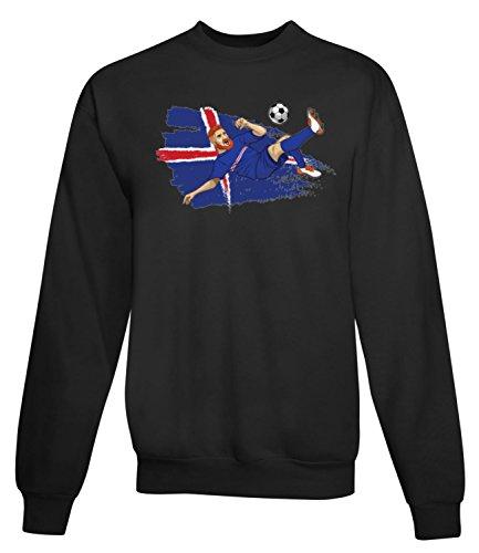 Billion Group | Iceland Strákarnir Okkar | Football Illustration | Sport Series | Women's Unisex Sweatshirt Noir