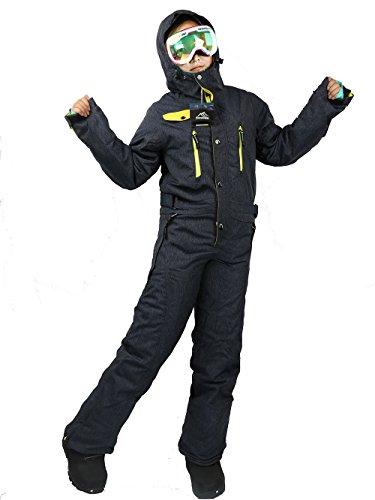 SAENSHING Damen Winter Ski Wasserdichte Anz¨¹ge einteilig ausziehen leichte Jeans blau