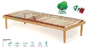 Rete Singola modello Dynamic misura 80x190 in legno di faggio con doghe ammortizzate e basculanti e regolatori di rigidità zona lombare