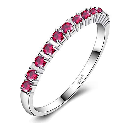 Uloveido Weibliche Hochzeitsband 2mm Roter Zirkonia Halbe Ewigkeit Stapelbare Verlobungsringe für Frauen Mädchen J029 (Pink, Größe 6) (Granat Silber Ewigkeit Ring)