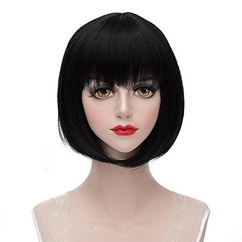 Lolita Black Short 30CM Fashion Women Party Bob Cosplay Wig + Wig Cap