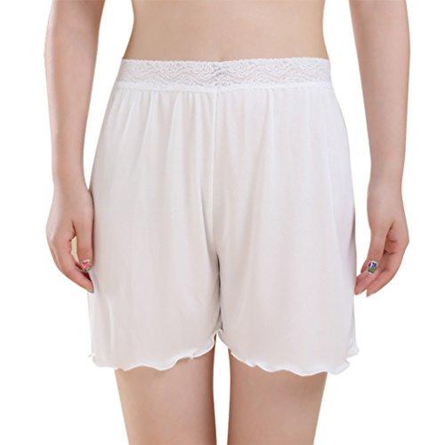 Baymate Damen Spitzenbesatz Boxershort Panties Nahtlos Schlüpfer Unterhose Weiß L - Nahtlose Thermo-unterwäsche