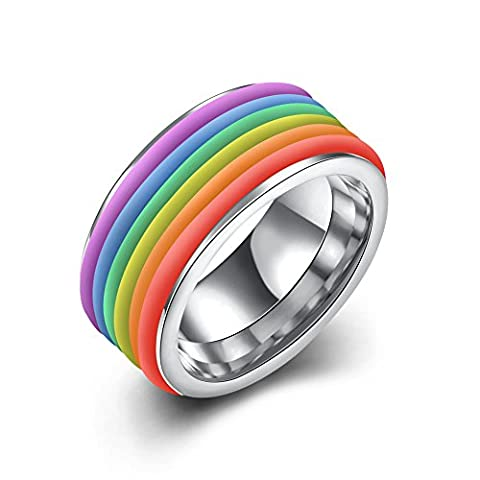 Men Women's Rainbow Ring Classic 10MM 316L Titanium Stainless Steel Striped Ring Valentine Couples Wedding Bands Enamel Engagement Promise Band,