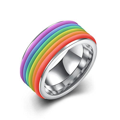 Herren-Ring Damen-Ring Regenbogen Farbe Streifen Edelstahl Silber Regenbogen-Ringe, JST-001-B-9-UK Farbe Cz Wedding Ring Sets