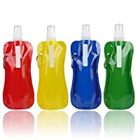 ANWANG 4 Pieces 480ML Collapsible Water Bottle Reusable Drinking Water Bottle with Clip for Outdoor Sports, Biking, Hiking Travel, Camping, 4 Colors