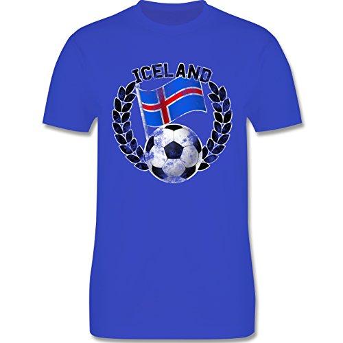 EM 2016 - Frankreich - Iceland Flagge & Fußball Vintage - Herren Premium T-Shirt Royalblau
