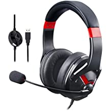AmazonBasics Gaming Headset with Microphone for PC, Red