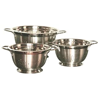 Gourmet Chef Professional 3-Quart Heavy Duty Stainless Steel German Colander with Wire Handles by American Trading House Inc.