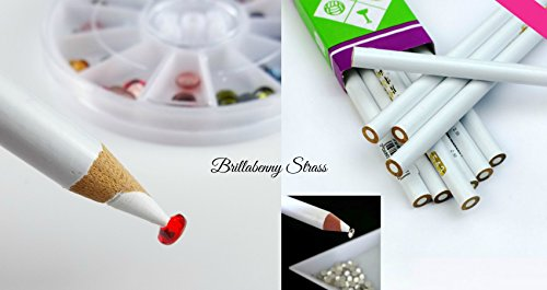 MATITA STRASS / PENNA / STRUMENTO PER POSIZIONARE CRISTALLI e DECORARE / Jewel Setter Picking Rhinestone Pick-Up Tool Hotfix Pencil Nail