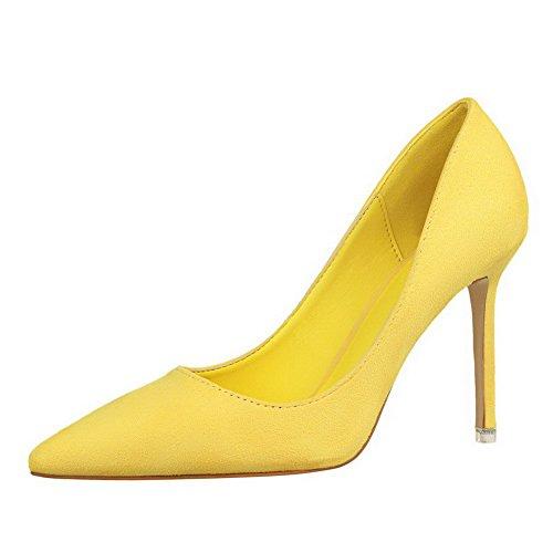 AalarDom Femme à Talon Haut Pointu Tire Chaussures Légeres Jaune-9CM