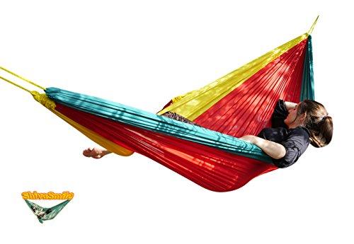 Hamac Double - Vert Rouge Jaune - 7m de corde intégrée !