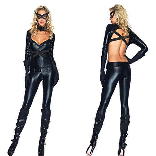 CoolTing Nachtclub Fun Cat Girl Jumpsuit hängender Hals undicht All-In-One-Bar Ds Pole Dance Kostüm,Black,M