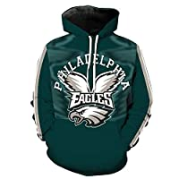 Men Hoodie Classic Philadelphia Eagles Football Team Print Hooded Pocket Sleeve Long Sleeve Youth Jacket Sweatshirt Long Sleeve Jumper Clothes-S-3XX