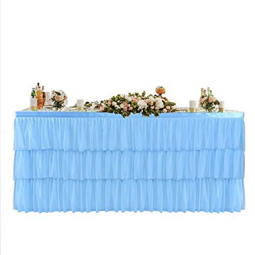 HBBMagic Tüll Tischrock Blau 3-Stufen-Rüschen-Skirting für rechteck oder runden Tisch, Elegant Tüll Tischrock Für Party, Hochzeit, Geburtstag, Weihnachten, Festival, Karneval, Feier Tischdekoration - Rechteck Blau Tischdecke