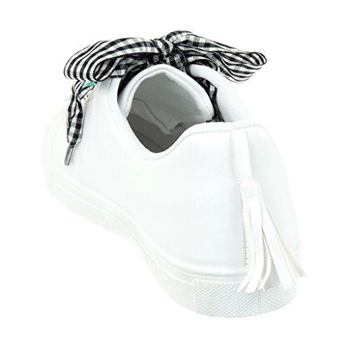 Angkorly - Scarpe da Moda Sneaker Tennis donna nastro frange fantasia Tacco tacco piatto 2.5 CM Bianco