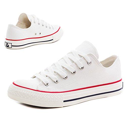 Klassische Unisex Damen Herren Schuhe Low High Top Sneaker Turnschuhe Weiß/Rot