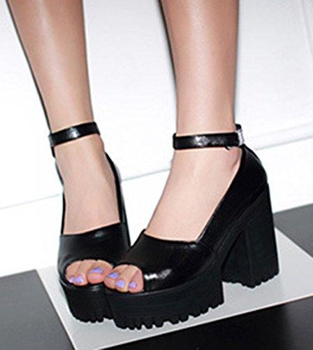 Aisun Femme Confort Peep Toe Scratch Sandales Noir