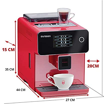 Oursson-Kaffeevollautomat-Super-automatisch-Keramik-mahlwerk-Farb-Touchscreen-Personalisierte-Getrnke-Doppeltassenbezug-19-bar-Rot-AM6250RD