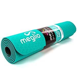 Meglio Eco Friendly Yoga Mat - Non-Slip - Perfect for Yoga, Pilates, Fitness, Exercise and Meditation - Green/Gray