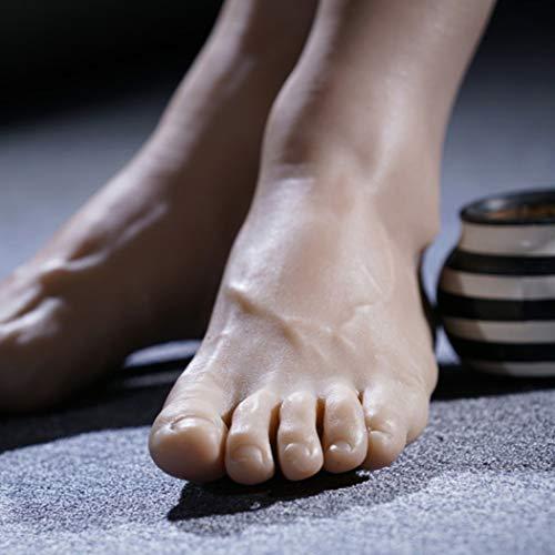 Männliche Silikon Schaufensterpuppe Fuß Schuhe Socken Display Fotografie Halloween Requisiten Maniküre Praxis Füße Modell 44 Größe,Natural,Right ()