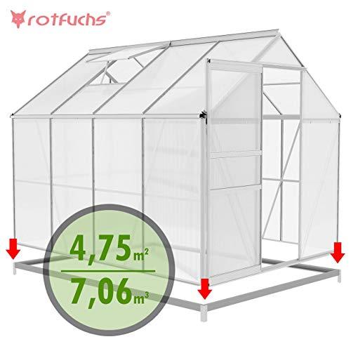 Rotfuchs Aluminium Gewächshaus 7,06 m³ - 2,50 x 1,90 m inkl. Fundament Treibhaus Frühbeet Gartenhaus Tomatenhaus Pflanzenhaus Extra Stabil