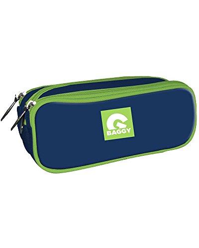 Baggy Estuche portatodo con Triple Bolsillo Cremallera Color Azul Marino y Verde