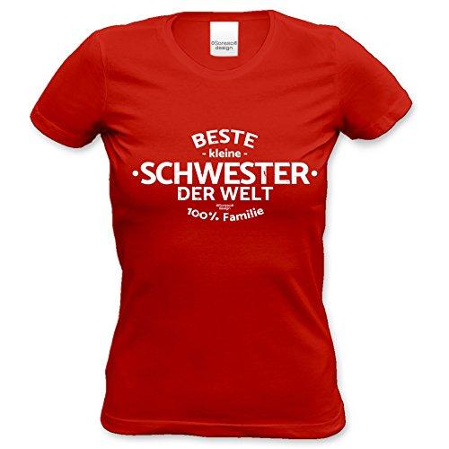 Geburtstagsgeschenk T-Shirt Frauen Motiv Beste kleine Schwester der Welt Geschenkidee, Muttertag, kurzarm Outfit, Geburtstag Farbe: rot Rot