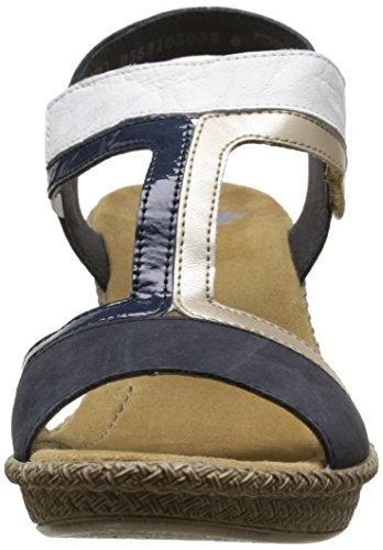 Rieker 66591 14, Sandales Femme Bleu (Pazifik/Platin/Marine/Weiss)