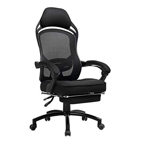 WYYY Bürostuhl Bürostuhl, Ergonomisch Hoher Rücken Drehbarer Mesh-Stuhl Lordosenstütze Verstellbare Höhe Schreibtischstuhl Durable stark (Color : Black)