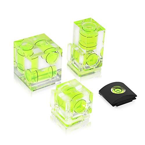 UTEBIT Wasserwaage Set 4 Stück (1+2+3 Libelle) Blitzschuhabdeckung für Standard-Blitzschuh Blitz-Zubehör für Sony Alpha 6000, Canon, Nikon, Fuji, DSLR/SLR/Evil