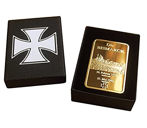 1oz Gold *Plated* Die Bismark Warship Bar - German Navy Commemorative + Embossed Gift Box