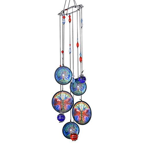 Windspiele 18-Zoll-Exquisite handgemachte Outdoor-Dekoration Baum des Lebens Windspiele Garten Hausgarten Geschenk Metall Handwerk hängen Gartendeko Windspiele säcke (Color : Purple, Größe : 45cm)