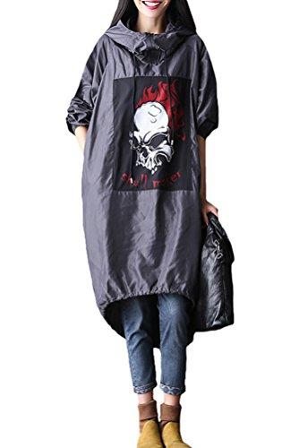 MatchLife Damen Langarm Kapuze Parka Skull Mantel Style2 Grau L