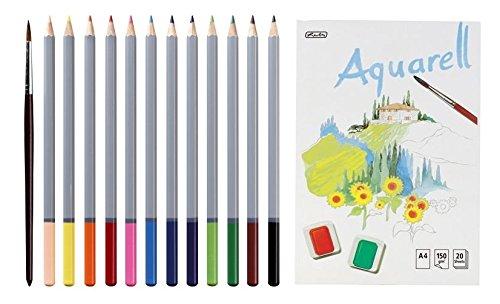 Aquarell-Buntstifte 12er + Pinsel + Aquarellblock A4 20 Blatt